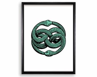 Printable Poster Wall Hanging - Snake Ouroboros - 18x24 / 11x17 / 8.4x11 / 8x10 / 5x7 / 4x6