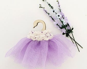 Miniature Tutu on Swan Hanger / tutu modern miniature decor / swan hanger with tutu