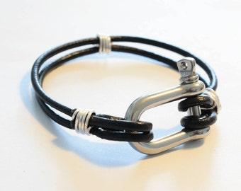 Real leather bracelet, navy bracelet, for man