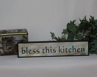 Christian Decor, Kitchen Sign, Wooden Sign, Kitchen Decor, Bless This Kitchen, Christian Home Sign, Religious Housewarming Gift, 2x12 inches