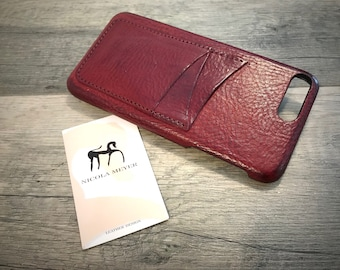 "NEW For SALE 1 Piece iPhone 8 and 7 Plus display 5.5"" Italian Leather Case with 3 credit cards holder vertical SLOTs color PRUGNA"
