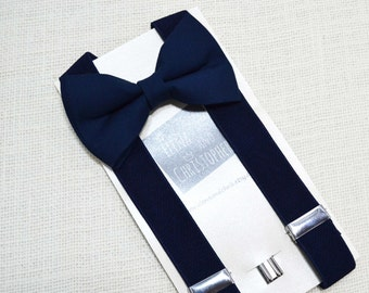 Navy Bow Tie and Navy Suspender Set !! for toddler/ boy/ baby/Teen/Adult/Men