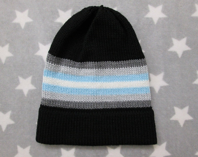 Knit Pride Hat - Demiboy Pride - Black - Slouchy Beanie