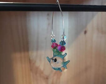 Tropical Blue Fish Wine Glass Charm