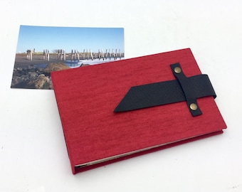 Mini Photo Album with Sleeves Red Canvas and Leather for 4x6 photos / In Stock