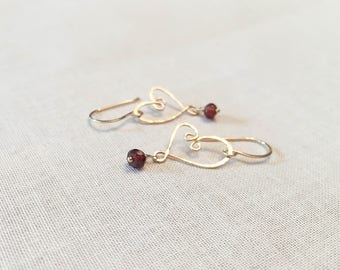 Golden Heart Drop Earrings - 14k Yellow Gold Fill Hammered Artisan Heart Drops with Wire Wrapped Genuine Faceted Garnet Gemstone Dangle Love