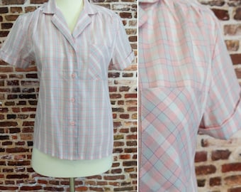 Vintage 70's 80's Blouse Pink Plaid Button Up Short Sleeve Size Small Women's