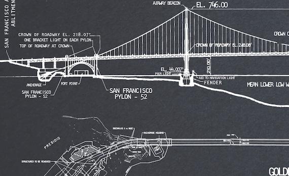 Golden gate bridge blueprint vintage san francisco golden golden gate bridge blueprint vintage san francisco golden gate bridge blueprint drawing art print poster malvernweather Gallery