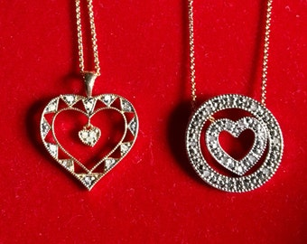Diamond heart necklaces gift set interchangeable friends sisters necklaces one time listing sterling silver gold overlay