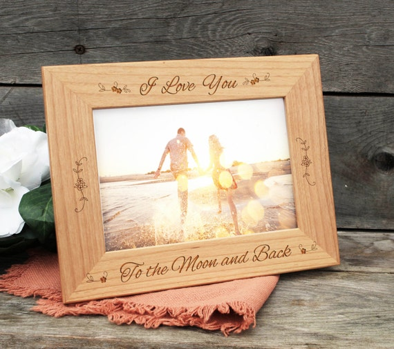 Personalized Picture Frame, I Love You to the Moon and Back Wooden ...