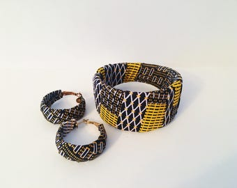 African bracelets and earrings set, African bangles, tribal bangles, A set of 3 bracelets and a pair of matching earrings.