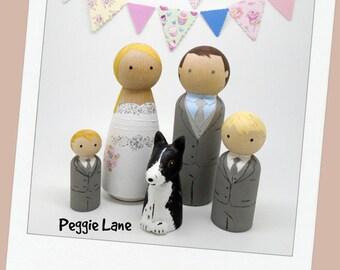 Wedding Cake Topper, Family Wedding cake toppers, Bride Groom 2 Pageboys & dog, Peg Dolls, Wedding Peg Dolls