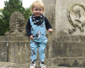 Baby Harem Romper, dungarees,baby clothes in blue armadillos