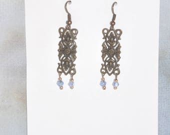 Earrings Copper Filigree Baby Blue Crystal Victorian Vintage #B12a One Of A Kind