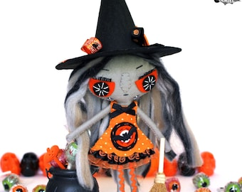 Witch Halloween felt doll Wendelin