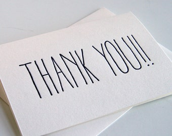 Letterpress Thank You Card - THANK YOU!!! Boxed set of 6
