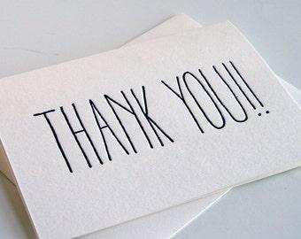 Letterpress Thank You Card - THANK YOU!!!