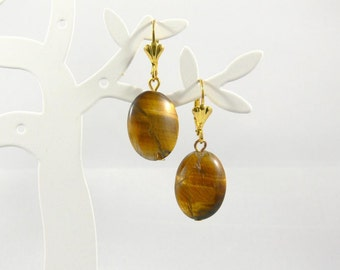 Tiger eye earrings, gemstone earrings, Tiger eye, earrings gold plated, gold earrings, wedding jewelry, gift, mother's day, birthday