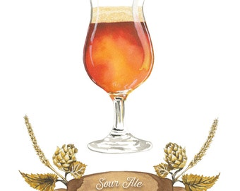 Saure Ale Craft Beer Aquarell Illustration