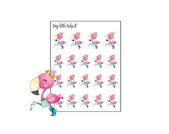 Planner Stickers Flamingo Watering Plants