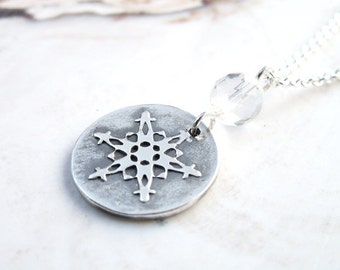 Small Snowflake Necklace faceted quartz crystal handmade unique .999 silver circle pendant ooak winter design .925 sterling chain