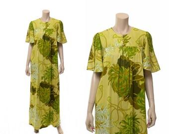 Vintage Hawaiian Dress, 60s Hawaiian Dress, Hawaiian Caftan Dress, 1960s Bark Cloth Muumuu Hippie Boho Maxi Polynesian Floral Tiki Dress / M