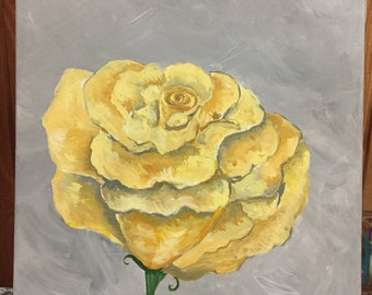 A Single Yellow Rose Painting | Yellow Rose Original Painting