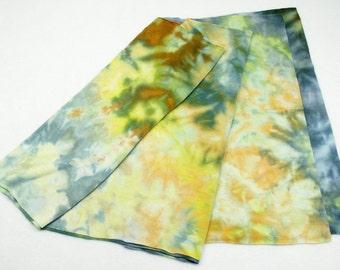 Green Aqua Peach Ice Dyed Tee Shirt Rayon Jersey Scarf - 15x52 inches - MR-QID1-2014