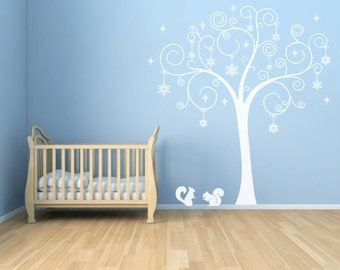 White Tree Wall Decal, The Tree Decorated With Snowflakes And Stars Living Room Or Nursery Home Decor- ID712
