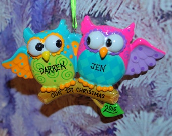 Personalized Owl Couple Christmas Ornament