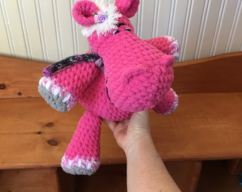 Ready to ship, Rosaline pink and grey hippo, plush handmade pink Hippo plush, jungle animals
