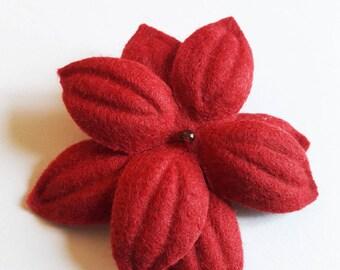 """""""Nimue"""" red felt flower hair clip"""