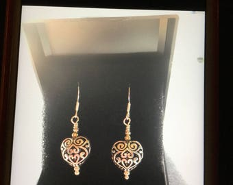 Heart earrings  silver plate materials with sterling silver wire hooks 925