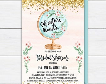 Bridal Shower Invitation, Adventure Awaits Bridal Shower Invite, Adventure Travel Globe Pink Gold Glitter Watercolor Printable Invitation