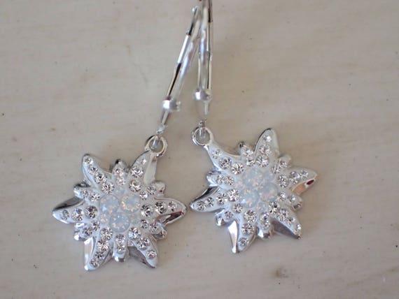 Swarovski White Opal Edelweiss Earrings, Sterling Silver