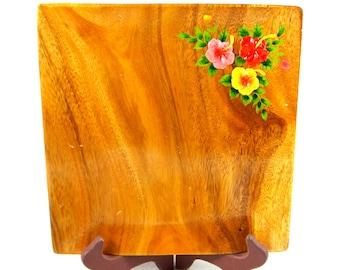 Vintage Acacia Wood Tray Hand Painted