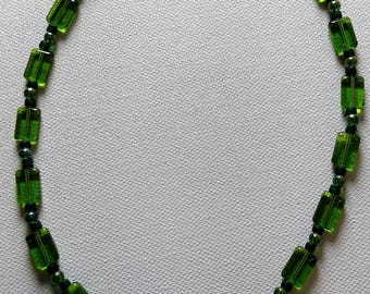 Short Green Glass Beaded Necklace