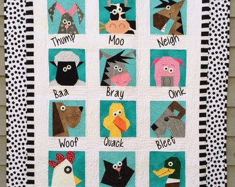Farmyard Stars Paper Pieced Quilt in PDF