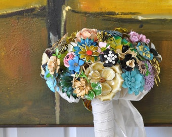 CUSTOM Bridal Jewelry Vintage Brooch Bouquet - to fit your style, budget & colors, OOAK, vintage bridal bouquet