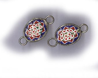 vintage ITALIAN MICROMOSAIC connectors one pair rare antique findings earring findings antique micromosaic