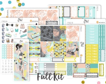 Fitness Floral-A LA CARTE- Vertical Weekly Kit planner stickers- Workout