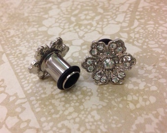 """Art deco crystal hibiscus single flare tunnels or wedding plugs for gauged or stretched ears: Sizes 8g 6g 4g 2g 0g 00g 7/16"""""""