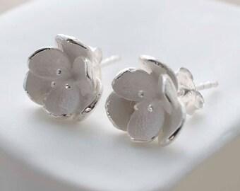 Sterling Silver Blossom Stud Earrings