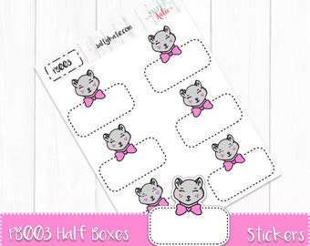 Hand Drawn Planner Stickers - Peeky Boo Half Boxes - For Use in Erin Condren Planners - Happy Planner Stickers - Planner Stickers