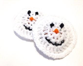 Snowmen Crocheted Nylon Netting Dish Scrubbies-Pair