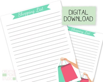 Printable Shopping List Refill - Grocery List - Personal Planner - Instant Digital Download - Planner Insert - Organization - Daily Planner