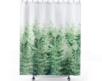 Pine Tree Shower Curtain, forest curtain, pine tree curtain, forest shower, tree shower curtain, green shower curtain