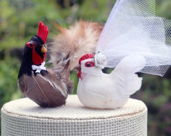 Barnyard Chicken Wedding Cake Topper: Farm Fancy Bride & Groom Love Bird Cake Topper