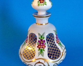 Vintage BOHEMIAN Perfume Bottle SIGNED Enameled Cased Glass circa 1930-1950 Ghost Marked & Appraised RARE