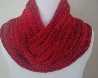Pure Wool Hand knit Red Cowl Neck-warmer